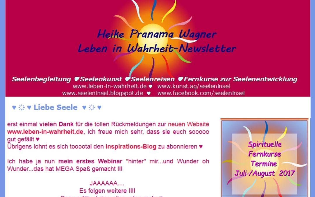Newsletter – SEIN mit Heike Pranama, kostenFREIe Webinare für DICH