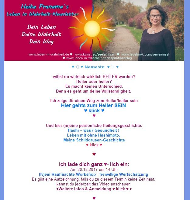 Willst du HEILER sein? Newsletter Dezember 2017